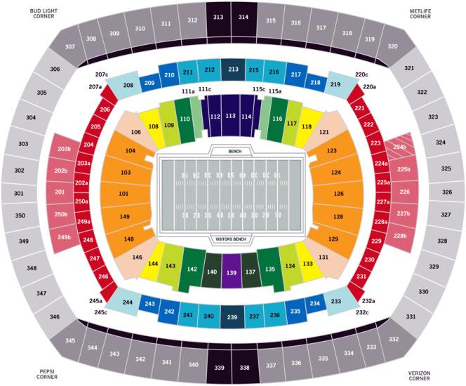 Metlife Stadium Floor Plan: Metlife Stadium Seating Chart Seat Numbers